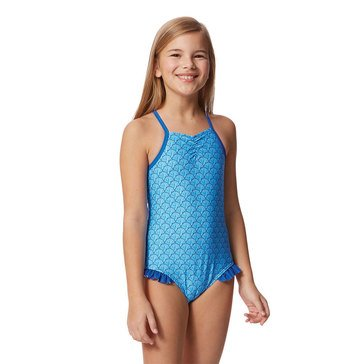 Yarn & Sea Big Girls' Bathing Suit, Shell Print with Ruffle