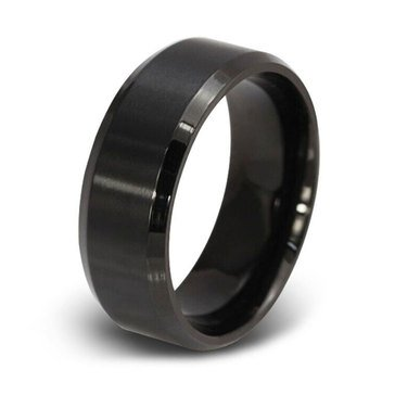Blackjack Brushed and Polished Black Stainless Steel Ring