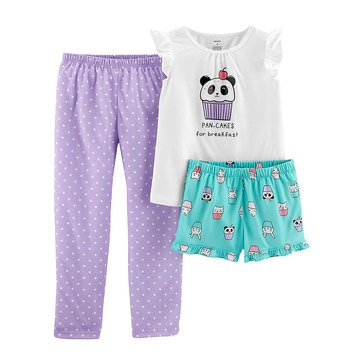 Carter's Toddler Girls' 3-Piece Pancake Tee Pajama Set
