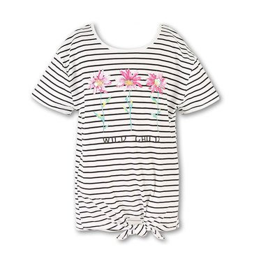 Speechless Big Girls' Stripe Tie Front Top