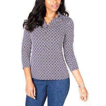 Charter Club Women's Printed Polo Top
