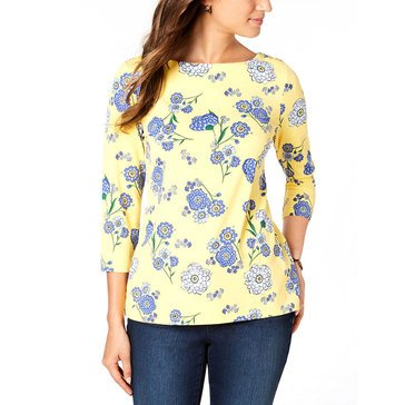 Charter Club Women's Spaced Floral Silky Knit Tee