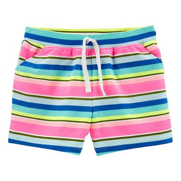Carter's Little Girls' Multi Stripe French Terry Shorts