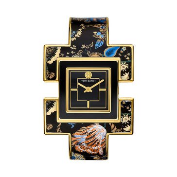 Tory Burch Women's Bangle Two Hand Floral Stainless Steel Black Watch, 25mm