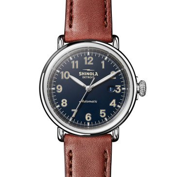 Shinola Men's Runwell Automatic Brown Leather Strap Watch, 45mm