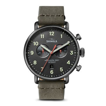 Shinola Men's Canfield Chrono Black Leather Strap Watch, 43mm
