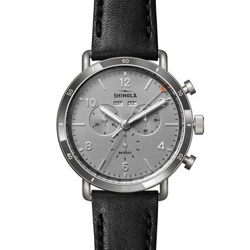 Shinola Men's Canfield Sport Black Leather Strap Watch, 45mm