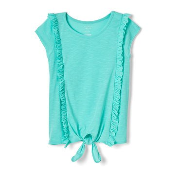 Yarn & Sea Little Girls' Ruffle Tie Front Tee