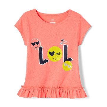 Yarn & Sea Little Girls' Ruffle Hem Graphic Tee