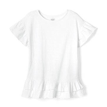 Yarn & Sea Big Girls' Ruffle Sleeve Top