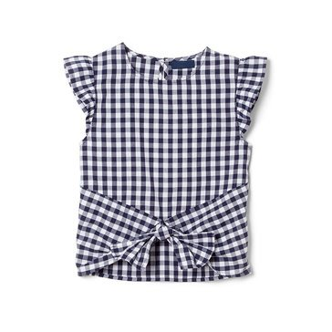 Yarn & Sea Big Girls' Flutter Sleeve Tie Front Top