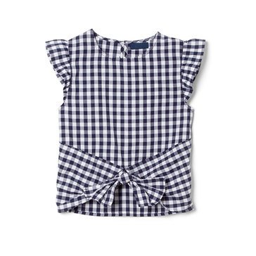 Yarn & Sea Little Girls' Flutter Sleeve Tie Front Top