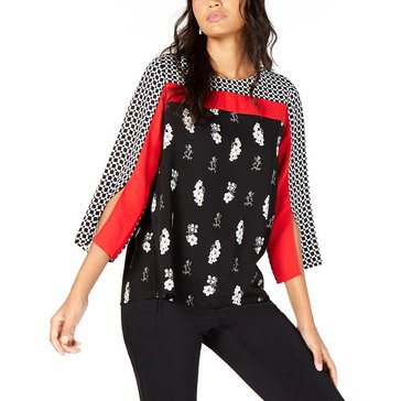 Alfani Women's Mix Printed Split Sleeve Blouse