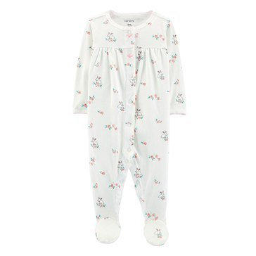 Carter's Baby Girls' Pointelle White Floral Sleep N Play