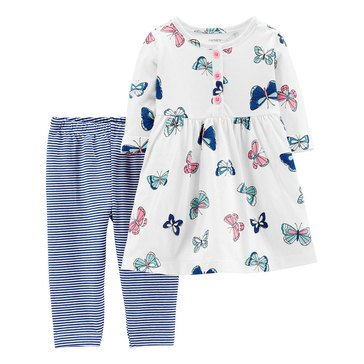 Carter's Baby Girls' 2-Piece Butterflies Dress And Stripe Legging Set