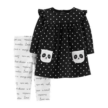Carter's Baby Girls' 2-Piece Panda Dress And Slogan Legging Set