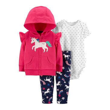 Carter's Baby Girls' 3-Piece Unicorn Cardigan Set