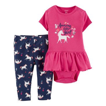 Carter's Baby Girls' 2-Piece Unicorn Bodysuit Pant Set