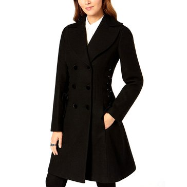 Guess Women's Wool Basket Weave Double Breasted Coat