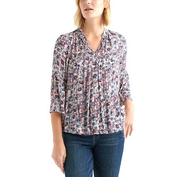 Lucky Brand Women's Ditsy Floral Tiered Peasant Top
