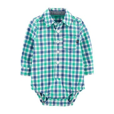 OshKosh Baby Boys' Button Front Gingham Bodysuit