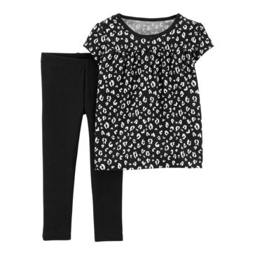 Carter's Baby Girls' 2-Piece Black Cheetah Short Sleeve Top And Pant Set