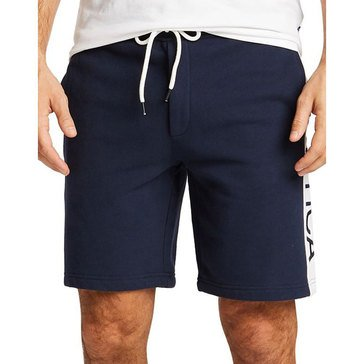 Nautica Mens Active Fleece Shorts Panel Logo White