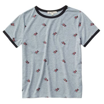 Wallflower Women's All Over Corgi Print Ringer Tee