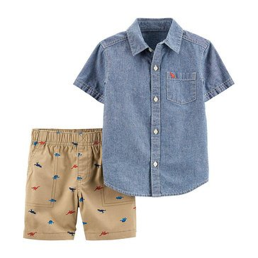 Carter's Toddler Boys' Chambray Top with Embroidered Shorts Two-Piece Set