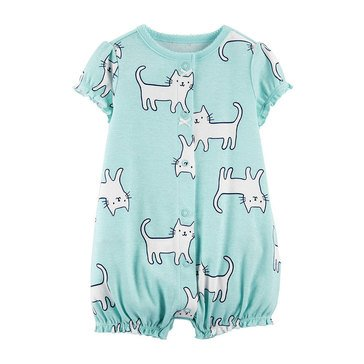 Carter's Baby Girls' Cats Mint Snap Up Romper
