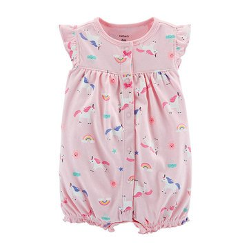 Carter's Baby Girls' Unicorn Pink Snap Up Romper