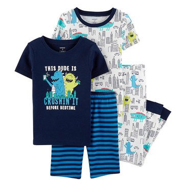 Carter's Boys' 4-Piece Print Monster City PJ Set