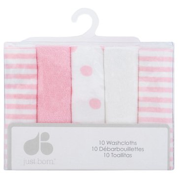 Just Born Baby Girls' 10-Pack Terry Washcloths, Pom Pom