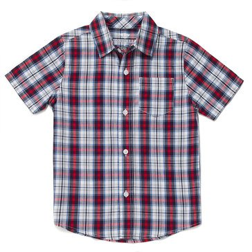 Eight Bells Big Boys' Short Sleeve Workshop Woven Plaid Button Front