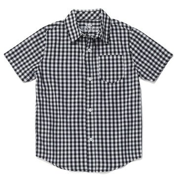 Eight Bells Little Boys' Short Sleeve Woven Plaid Button Front Shirt