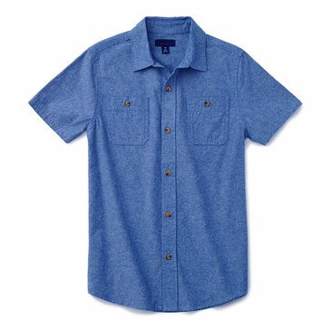 Eight Bells Little Boys' Short Sleeve Woven Printed Button Front Shirt