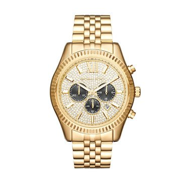 Michael Kors Men's Lexington Chronograph Stainless Steel Gold Tone Bracelet Watch, 44mm