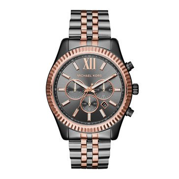 Michael Kors Men's Lexington Two Tone Chronograph Grey Bracelet Watch, 44mm