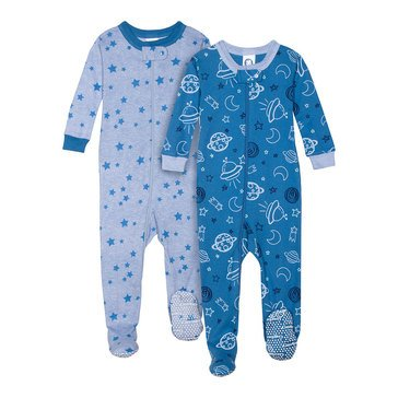 Gerber Organic Baby Boys' 2 Piece Footed Pajama Set