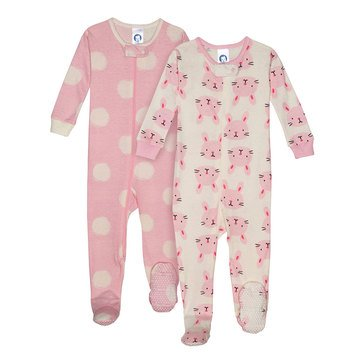 Gerber Organic Baby Girls' 2 Piece Footed Pajama Set