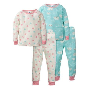 Gerber Organic Baby Girls' 4-Piece Pajama Set