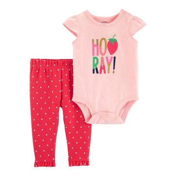 Carter's Baby Girls' 2-Piece Strawberry Bodysuit Pant Set