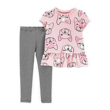 Carter's Baby Girls' 2-Piece Dog Top and Striped Legging Set