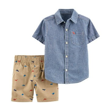 Carter's Baby Boys' 2-Piece Chambray Woven Short Set