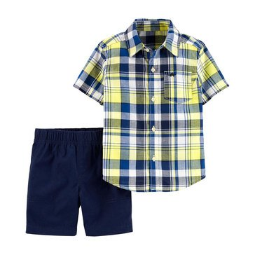 Carter's Baby Boys' 2-Piece Plaid Woven Short Set