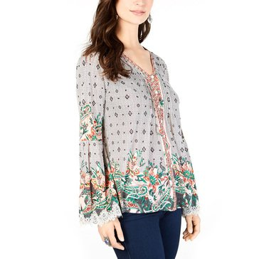 Style & Co Women's Floral Border Sheer V-Neck Blouse