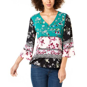 Style & Co Women's Mix Printed V-Neck Top