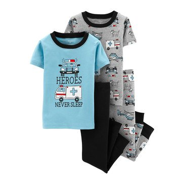 Carter's Baby Boys' 4-Piece Rescue Vehicles Snug Fit Cotton Pajamas
