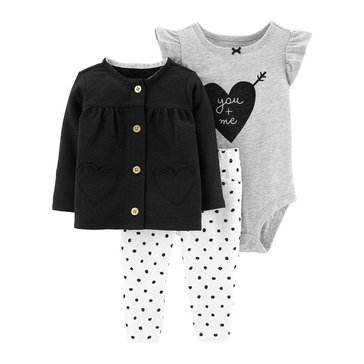 Carter's Baby Girls' 3-Piece Heart Cardigan Set