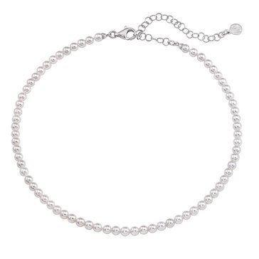 Majorica Ballet 4mm White Round Pearl Long Strand Necklace With Silver Clasp, Silver Plated